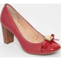 Sapato Em Couro Com Recortes & Tag- Vermelho- Salto:Jorge Bischoff