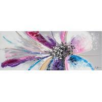 Quadro Pintura Flor 2 Blue Pink 70X180 Fullway