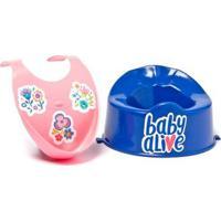 Acessórios Para Boneca Baby Alive - Babador Rosa E Penico Azul Escuro - Cotiplás - Feminino-Incolor