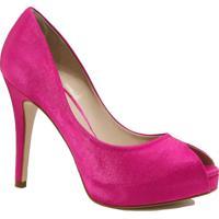 Sapato Laura Porto Peep Toe Salto Alto Rosa