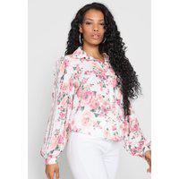 Camisa Lança Perfume Mangas Bufantes Floral Branca/Rosa