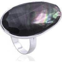 Anel De Prata Cristal De Quartzo Negro Oval