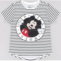 Blusa Juvenil Mickey Listrada Manga Curta Off White