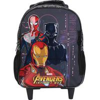Mochila Infantil Escolar Xeryus Marvel Avengers First Strike Rodinhas - Masculino-Cinza+Preto