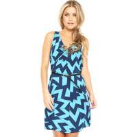 Vestido Habana Curto Geométrico Azul