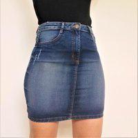 Saia Jeans Feminina Frozini Mini Saia Recorte Moderno Pala Coração Levanta Bumbum