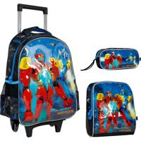 Kit Escolar Robot Warriors Mochilete Lancheira E Estojo Rw6182K Azul