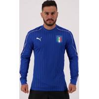 Camisa Puma Itália 2017 Jogador Manga Longa Masculina - Masculino