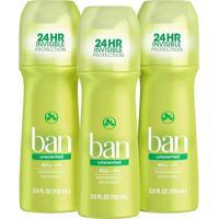 Ban Kit Desodorante Antitranspirante Roll-On 103Ml Trio - Unscented