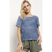 Blusa Jeans Com Recortes- Azulhering