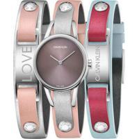 Relógio Calvin Klein Feminino Couro Prateado Rosa E Azul - K9D231Zz