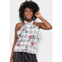 Blusa Lily Fashion Xadrez Floral Babados Feminina - Feminino-Branco