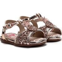 Sandalia Infantil Molekinha Metal Glamour Maxxi Glitter - Feminino-Rosa