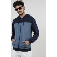 Blusão Masculino Em Moletom Felpado Com Recorte E Capuz Azul Marinho
