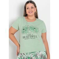 Blusa Verde Com Estampa Na Frente Plus Size