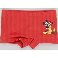 Sunga Boxer Infantil Estampada Mickey & Pluto Com Proteção Uv50+ Vermelho