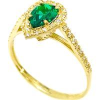 Anel Prata Mil De Ouro C/ Zircônia Dourado/Verde