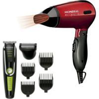 Maquina Cortar Cabelo Aparador Barba Mondial Bg-04 6 Em 1 E Secador De Cabelo Max Travel Mondial Bivolt - Tricae