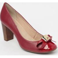 Sapato Tradicional Em Couro Com Laã§O - Vermelho- Saljorge Bischoff