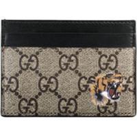 Gucci Porta-Cartões Gg Supreme Com Estampa De Tigre - Neutro