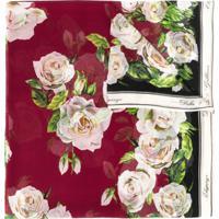 Dolce & Gabbana Echarpe Floral De Seda - Vermelho