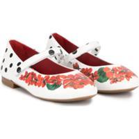 Dolce & Gabbana Kids Sapatilha Com Estampa De Flores E Poás - Branco