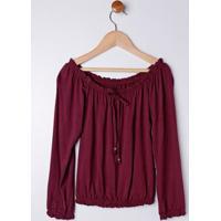 Blusa Ciganinha Juvenil Para Menina - Vinho