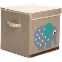 Caixa Organizadora Dolce Home Linha Bichos Com Tampa - Elefante Bege