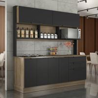 Cozinha Compacta Com Cooktop Vitrum Ii 6 Pt 3 Gv Castanho E Preta