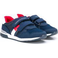 Tommy Hilfiger Junior Tênis Cano Baixo Com Logo E Velcro - Azul