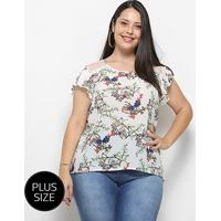 Blusa Heli Bata Floral Plus Size Feminina - Feminino-Branco