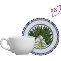 Conjunto De Xícaras De Chá Folhas- Branco & Verde- 6Scalla Cerâmica