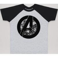 Camiseta Infantil Os Vingadores Raglan Manga Curta Cinza Mescla Claro