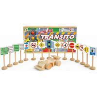 Mini Kit De Transito Com 14 Placas 1 Semáforo E 1 Carrinho De Madeira