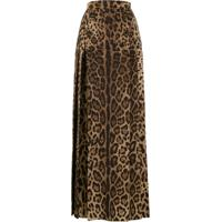 Dolce & Gabbana Saia Longa Animal Print - Marrom
