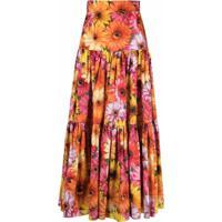 Dolce & Gabbana Sunflower Print Tiered Skirt - Laranja