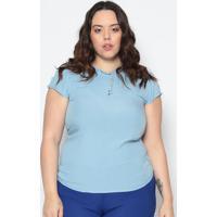 Blusa Com Pérolas - Azul Claro- Maclumaclu