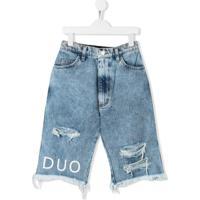 Natasha Zinko Kids Bermuda Jeans Desgastada - Azul