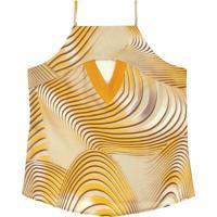 Blusa Estampada Com Decote Reto Amarelo