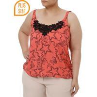 Blusa Regata Plus Size Feminina Preto/Coral