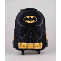 Mochila Escolar Infantil Com Rodinhas Batman Preta