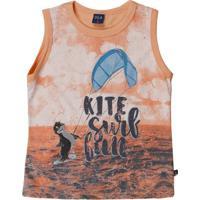 Camiseta Regata Infantil Para Menino - Laranja