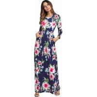 Vestido Longo Estampa Floral Com Bolso Manga Longa - Azul Royal