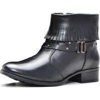 Bota Ankle Boot Sapatofranca Cano Curto Com Franja Não Possui Cadarço Com Fivela Preto