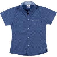 Camisa Manga Curta Infantil Para Menino - Azul