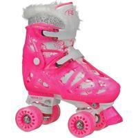 Patins Quad 4 Rodas Roller Derby Princess Ajustável Rosa