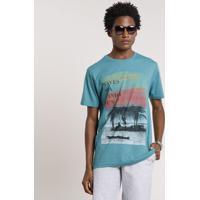 "Camiseta Masculina ""Waves Sea Wind & Sun"" Manga Curta Gola Careca Verde"