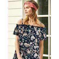 Blusa De Malha Com Alcinhas Floral Azul
