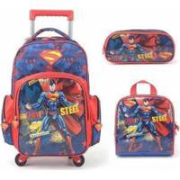 Mochila Com Rodinhas Superman 360 Com Lancheira E Estojo - Masculino-Vermelho