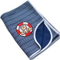 Manta Beb㪠Dupla Face Zip Marinheiro - Azul - Menino - Dafiti
